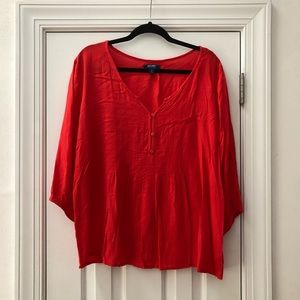 Old Navy 3/4 Sleeve Red Blouse XXL